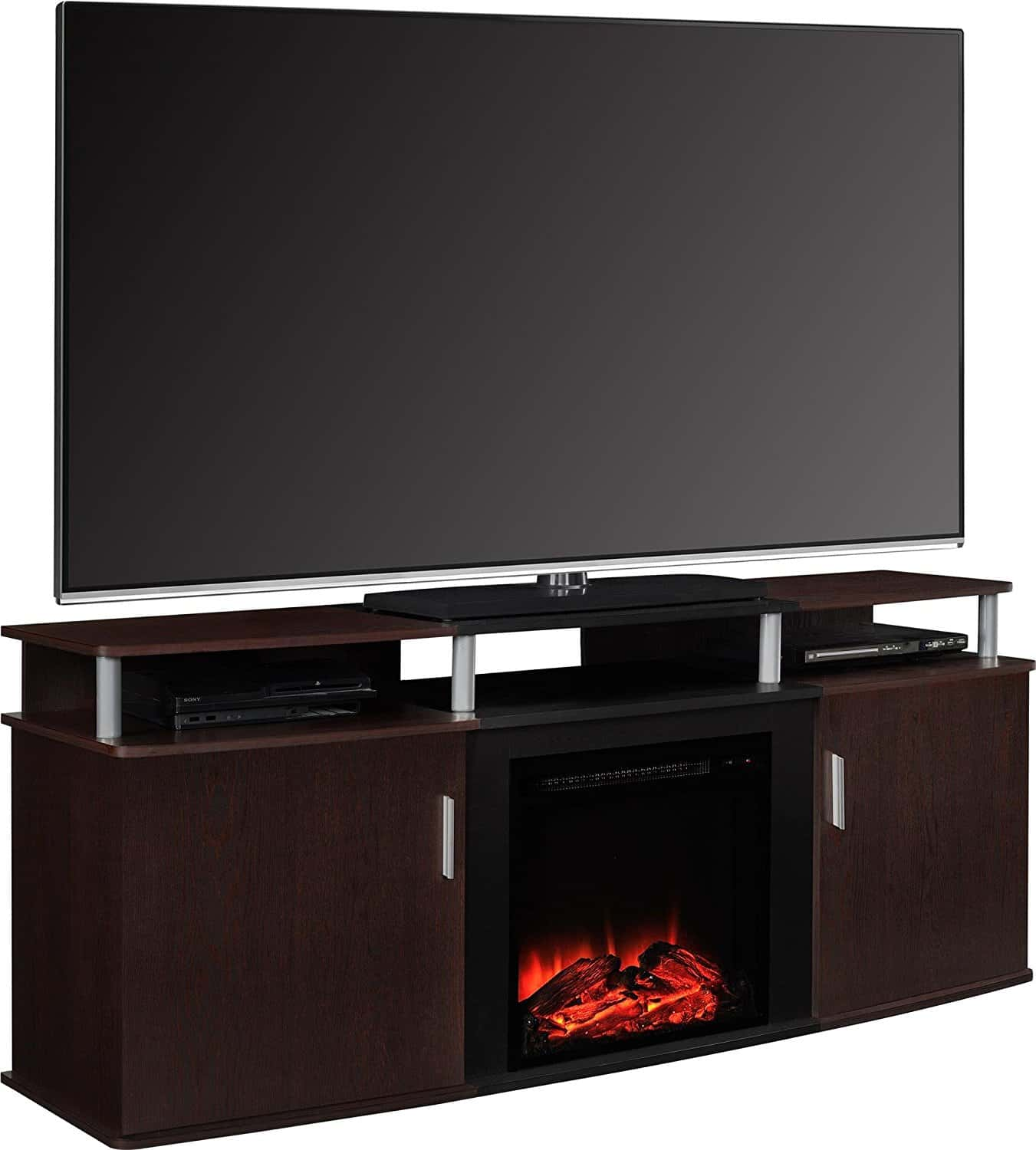 "4. Altra Furniture Carson Fireplace TV Console, 70"", Cherry/Black"