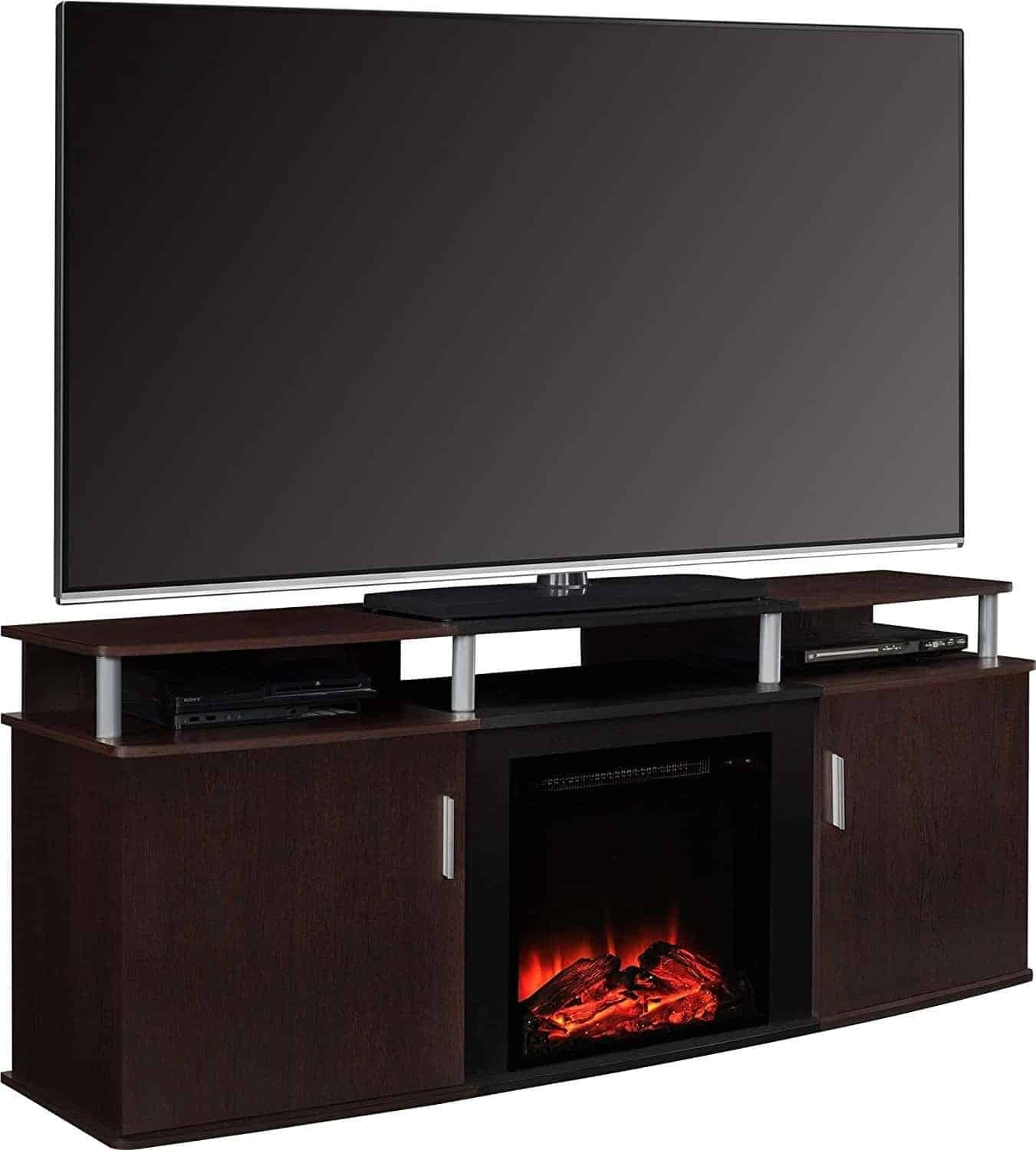 "Altra Furniture Carson Fireplace TV Console, 70"", Cherry/Black"