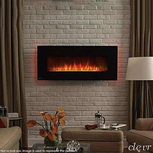 "Clevr 750-1500W 39"" Adjustable Electric Wall Mount Fireplace Heater"