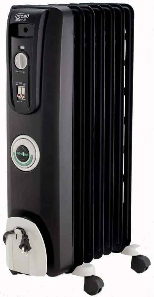 DeLonghi EW7707CB Safe Heat 1500W ComforTemp Portable Oil-Filled Radiator Heater - Black