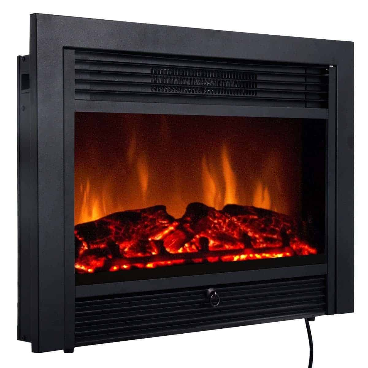"Giantex 28.5"" Electric Fireplace Insert with Heater Glass View Log Flame"