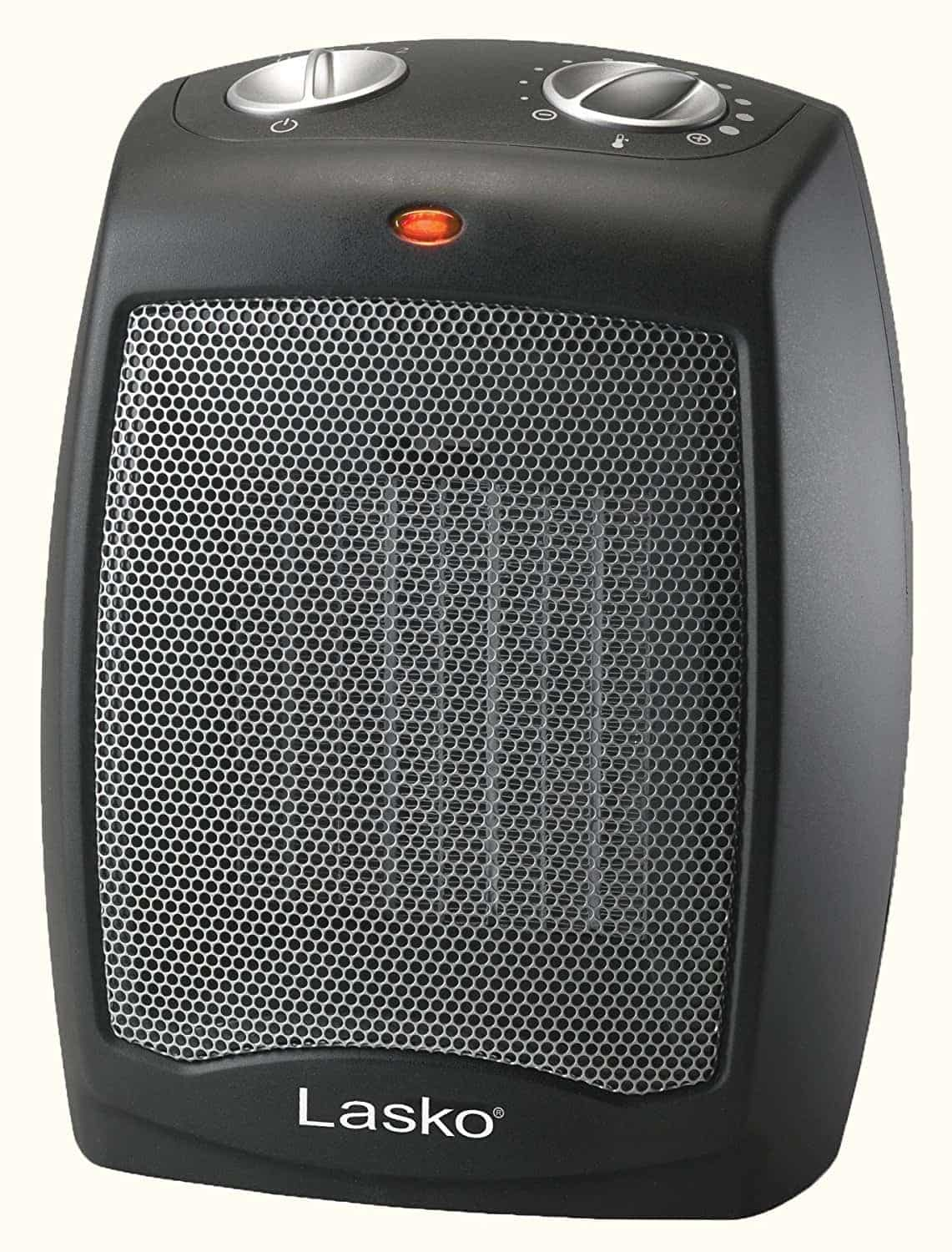 Lasko CD09250 Ceramic Heater with Adjustable Thermostat Tabletop Or Under-Desk