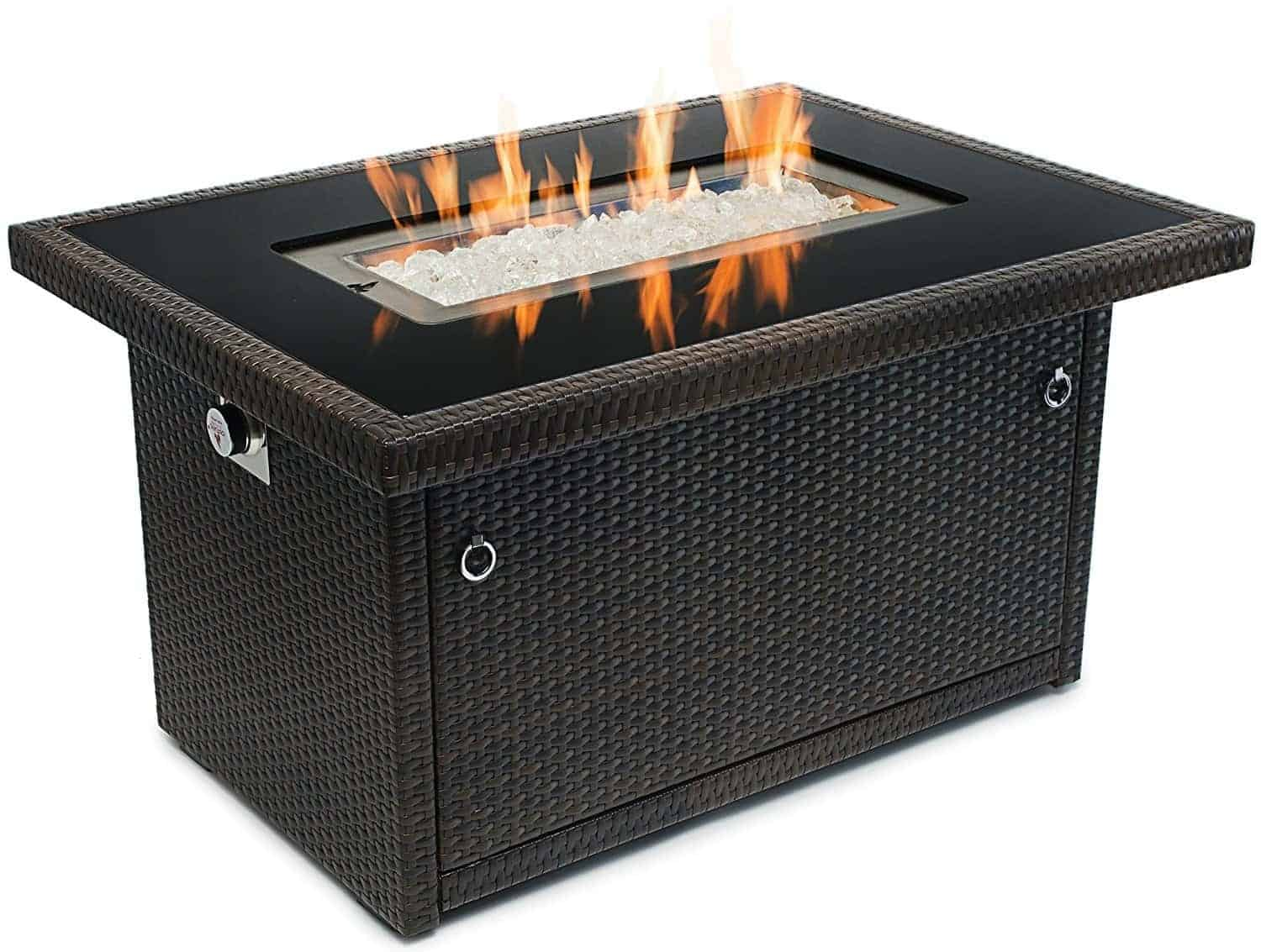 Outland Fire Table, Aluminum Frame Propane Fire Pit Table w/Black Tempered Glass Tabletop Resin Wicker Panels