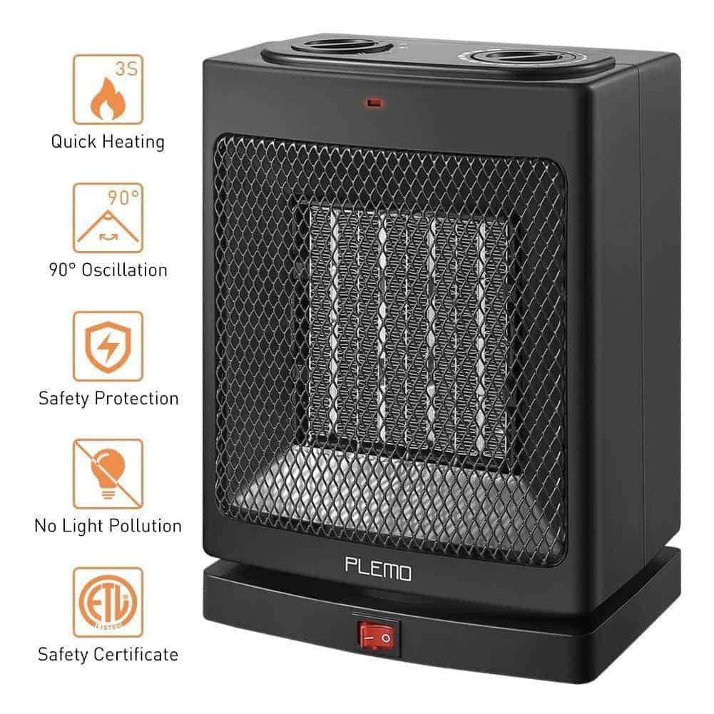PLEMO Electric Ceramic Heater 750 W/1500 W Oscillating Fan Heater with Adjustable Thermostat