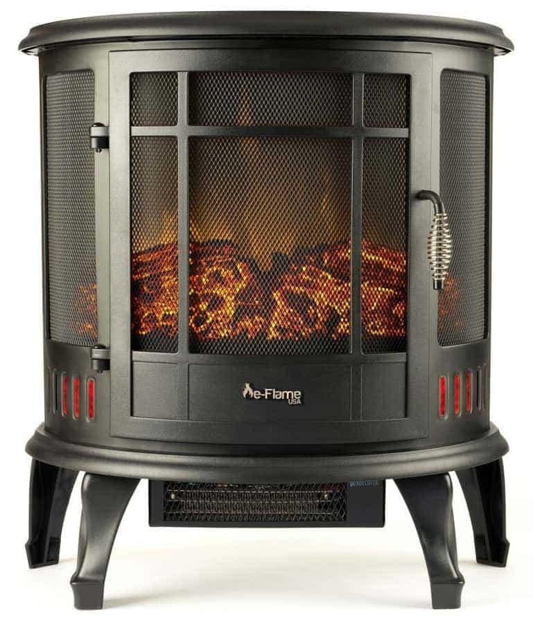 Regal Portable Electric Fireplace Stove by e-Flame USA (Matte Black)