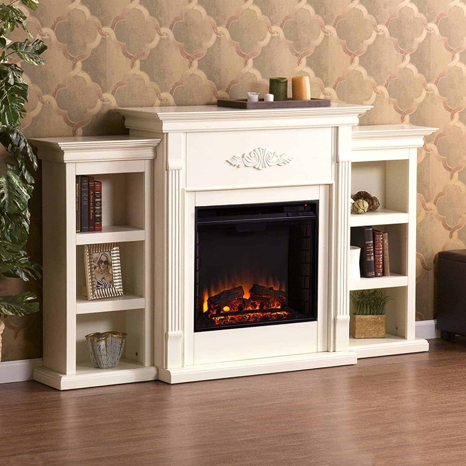 Southern Enterprises Tennyson Electric Fireplace w/ Bookcases