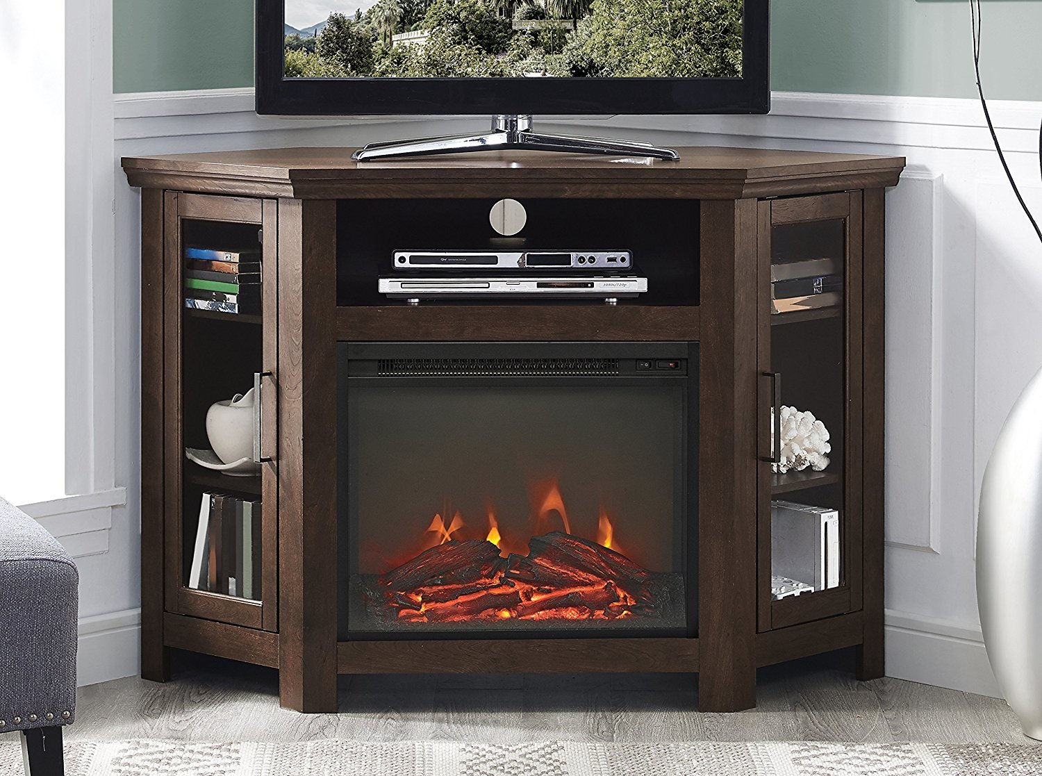 "WE Furniture 48"" Wood Corner Fireplace Media TV Stand Console"