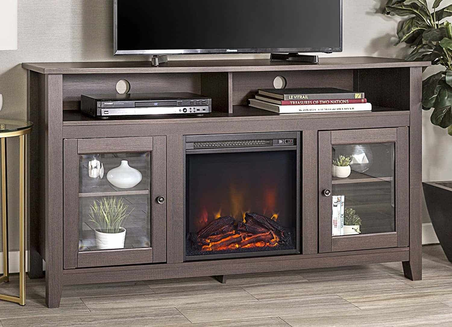 "WE Furniture 58"" Wood Highboy Style TV Stand Fireplace Console"
