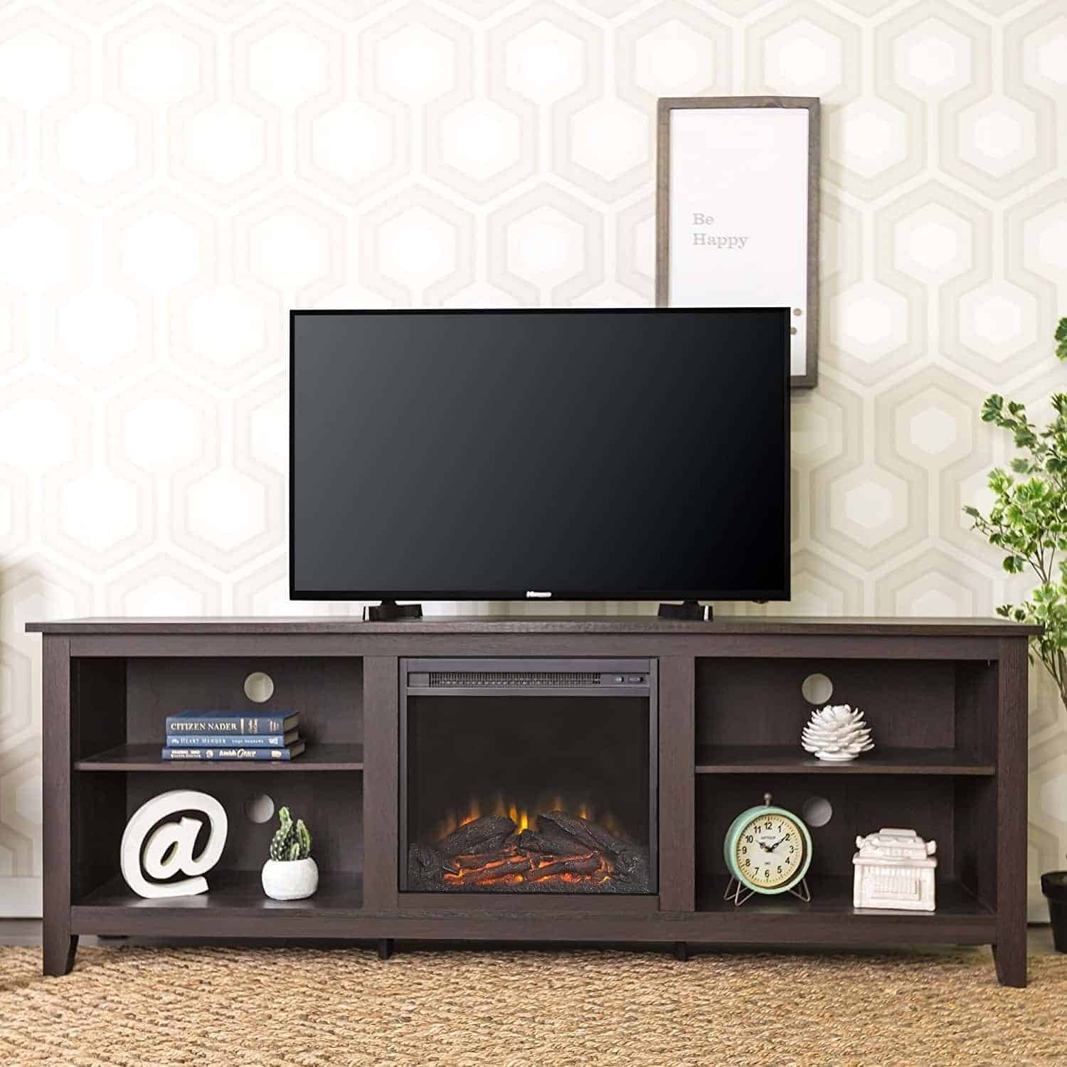 "WE Furniture 70"" Wood Fireplace TV Stand Console"