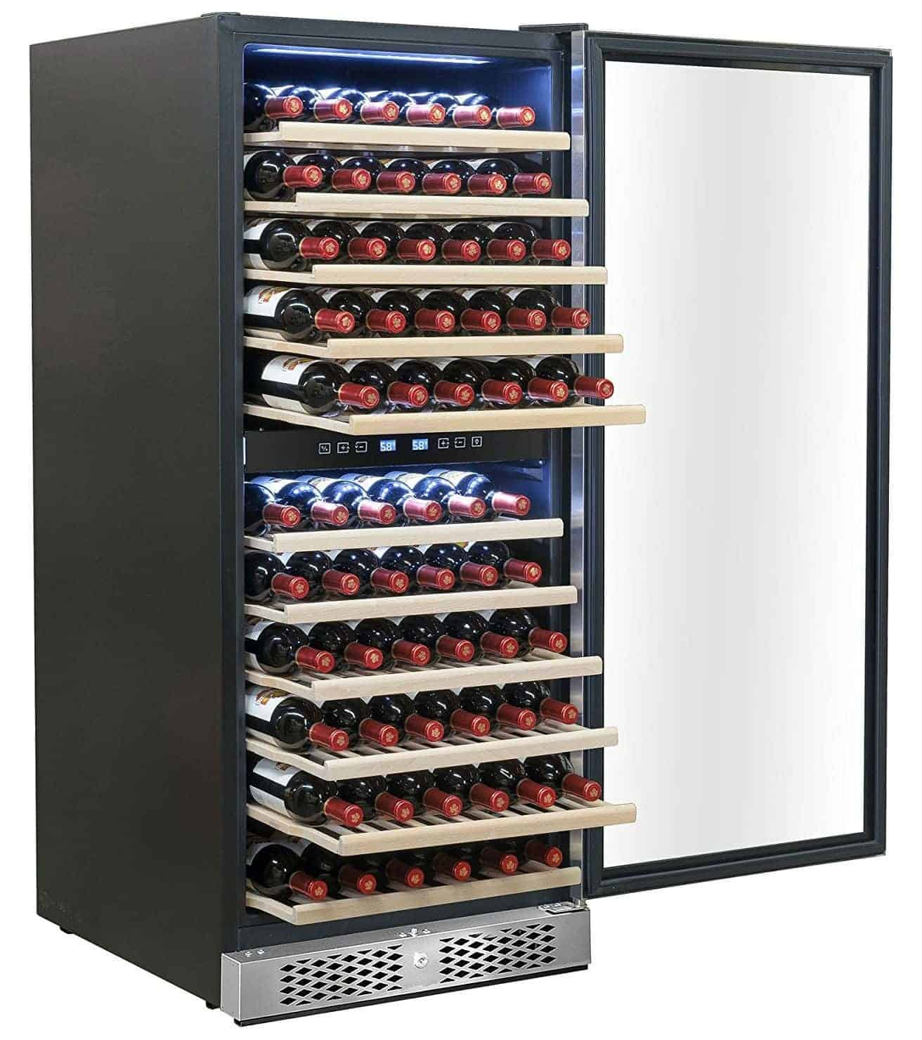 AKDY 116 Bottles Dual Zone Touch Control Compressor Function Freestanding Electric Wine Cooler