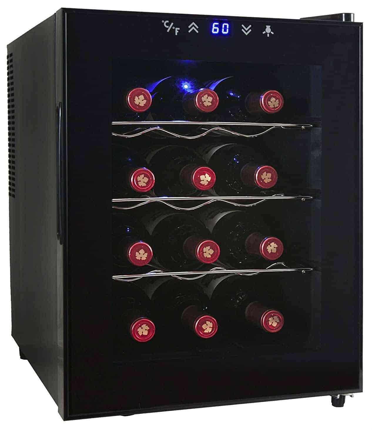 AKDY 12 Bottle Single Zone Thermoelectric Stainless Steel Freestanding Wine Cooler Cellar