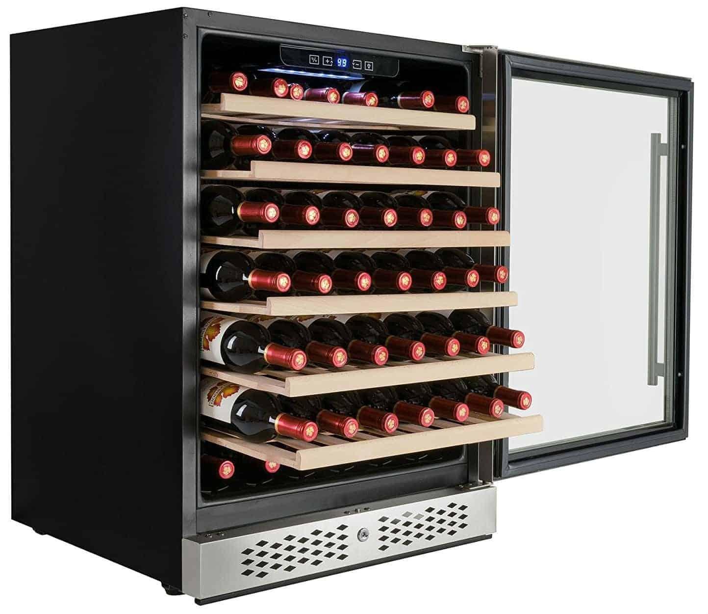 AKDY 54 Bottles Single Zone Built-in Compressor Freestanding Wine Cooler Cellar