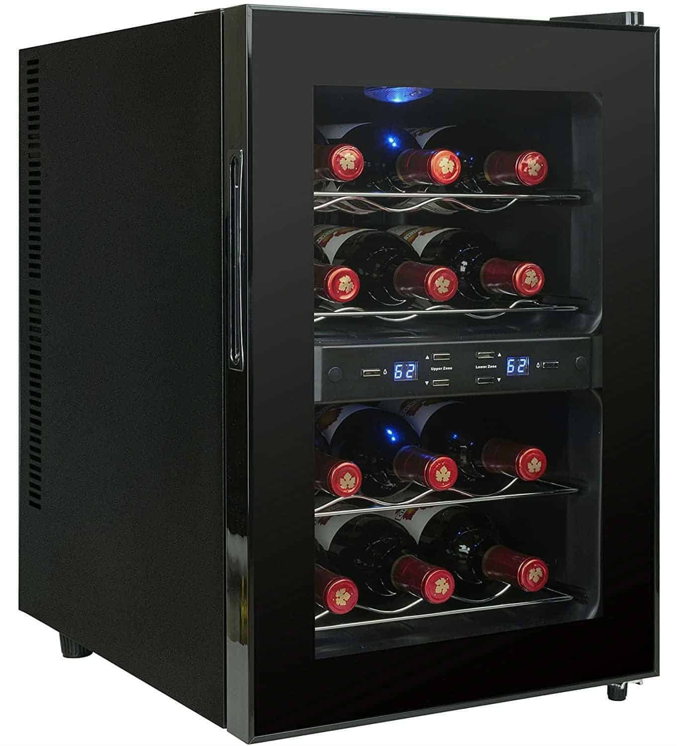 AKDY Black Freestanding Thermoelectric Counter Dual Zone Wine cooler