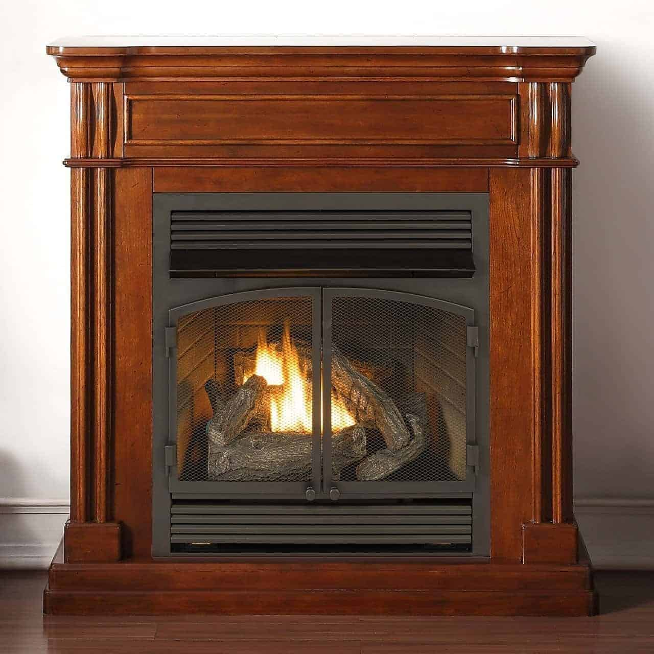 Duluth Forge Dual Fuel Vent Free Fireplace, 32,000 BTU, Remote Control, Autumn Spice Finish