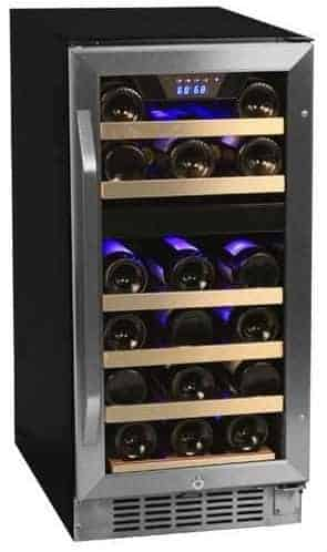 EdgeStar CWR262DZ 15 Inch Wide Dual Zone Stainless Steel Built-In Wine Cooler