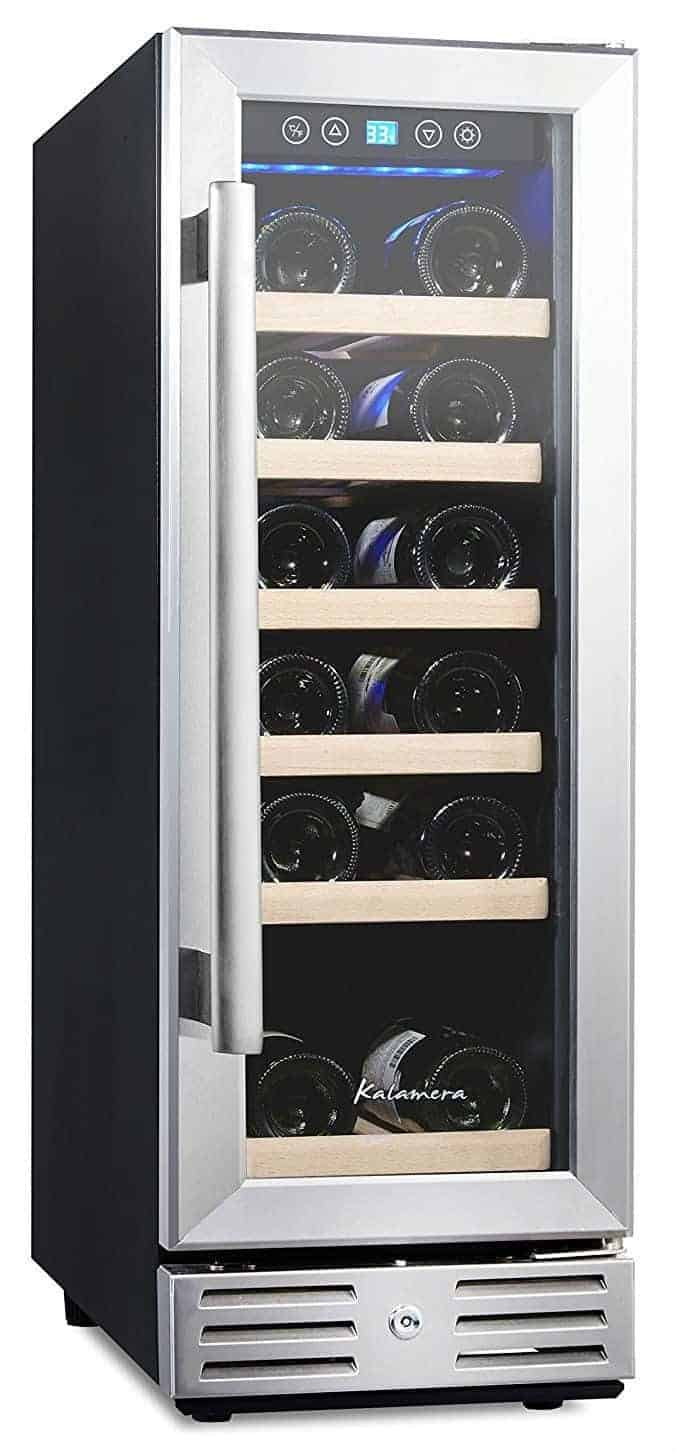 Kalamera 12'' Wine Fridge 18 Bottle Built-in or Freestanding with Stainless Steel