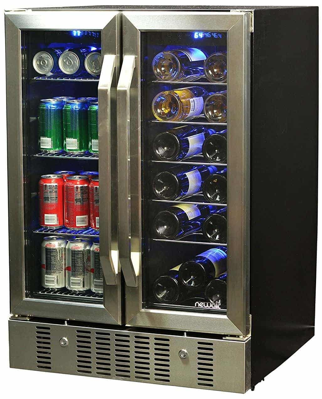 NewAir AWB-360DB 18 Bottle 60 Can Dual Zone Built-In Wine & Beverage Cooler