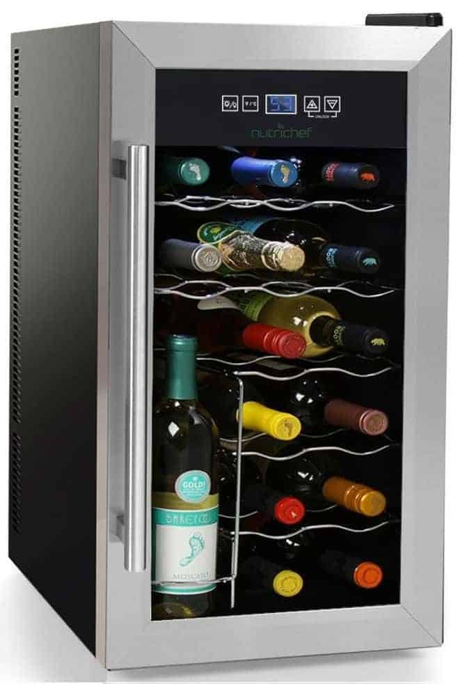 NutriChef 18 Bottle Thermoelectric Wine Cooler / Chiller - Quiet Operation Fridge