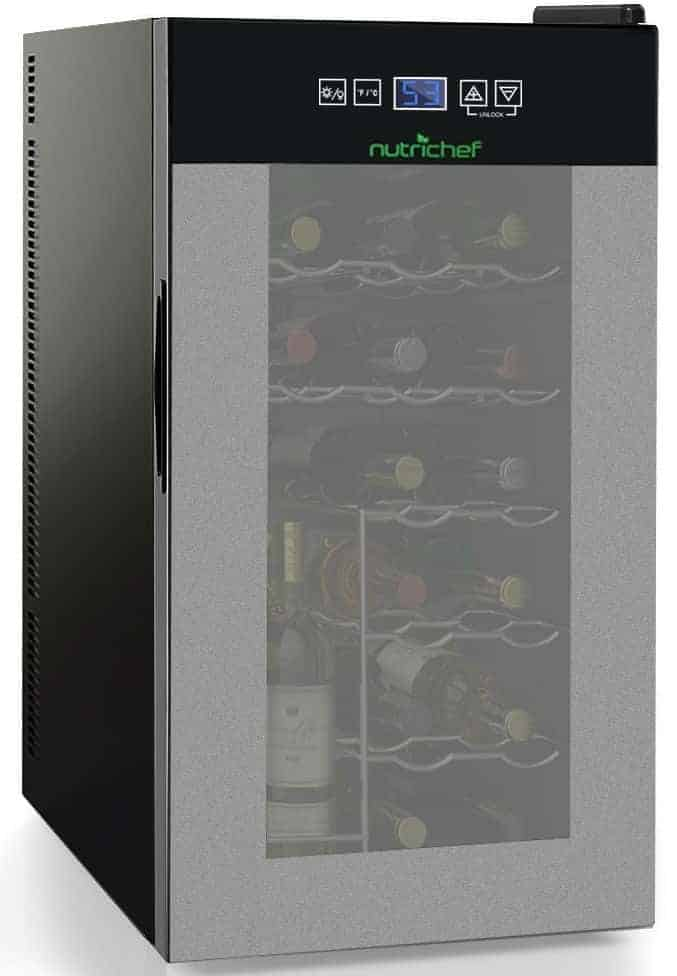 Nutrichef 18 Bottle Thermoelectric Wine Cooler Refrigerator - Counter Top Wine Cellar