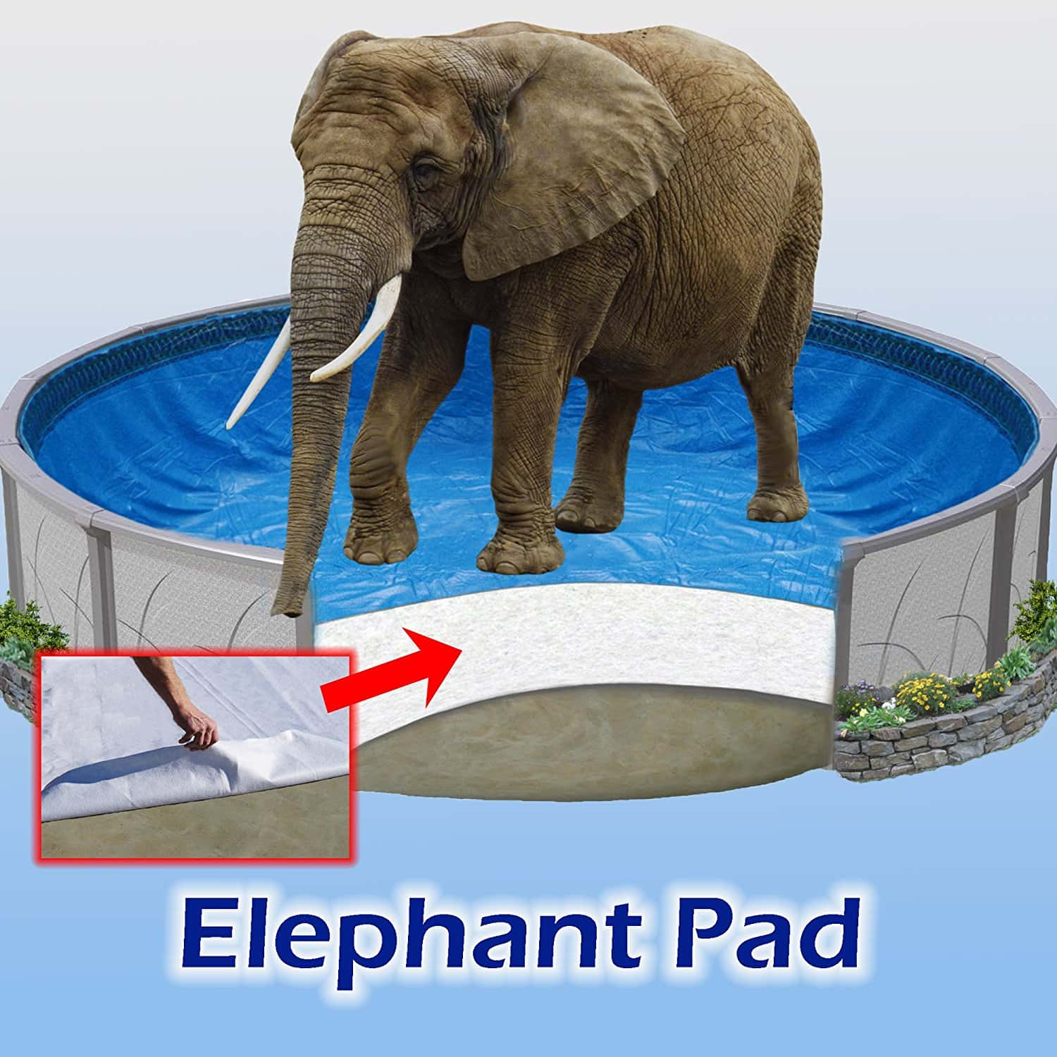 Quality Pool Products 24 ft Round Pool Liner Pad, Elephant Guard Armor Shield Padding