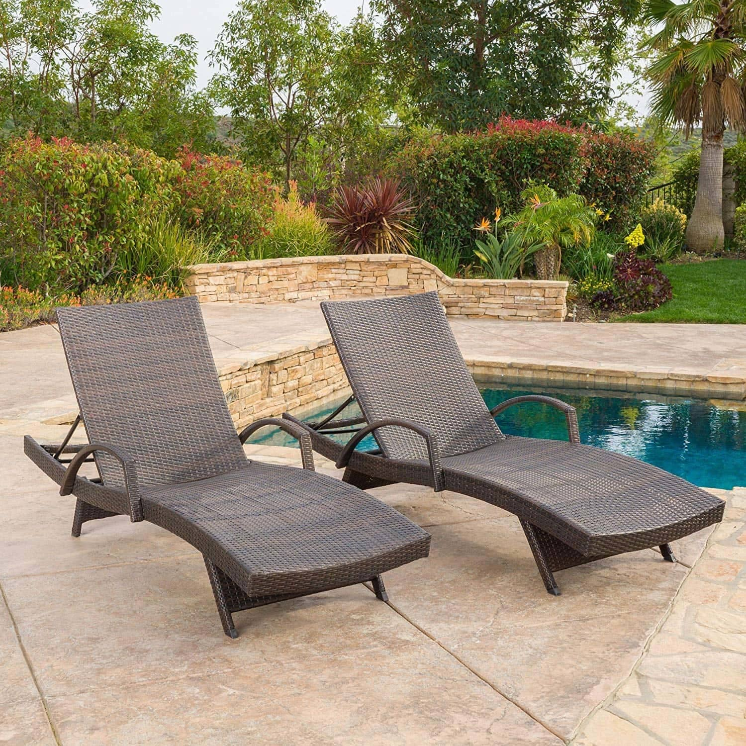 Olivia Outdoor Brown Wicker Armed Chaise Lounge Chair