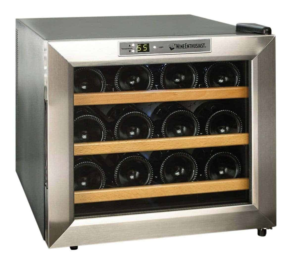 Wine Enthusiast 272 02 13W Stainless Steel/Wood Shelves Silent 12-Bottle Wine Cooler