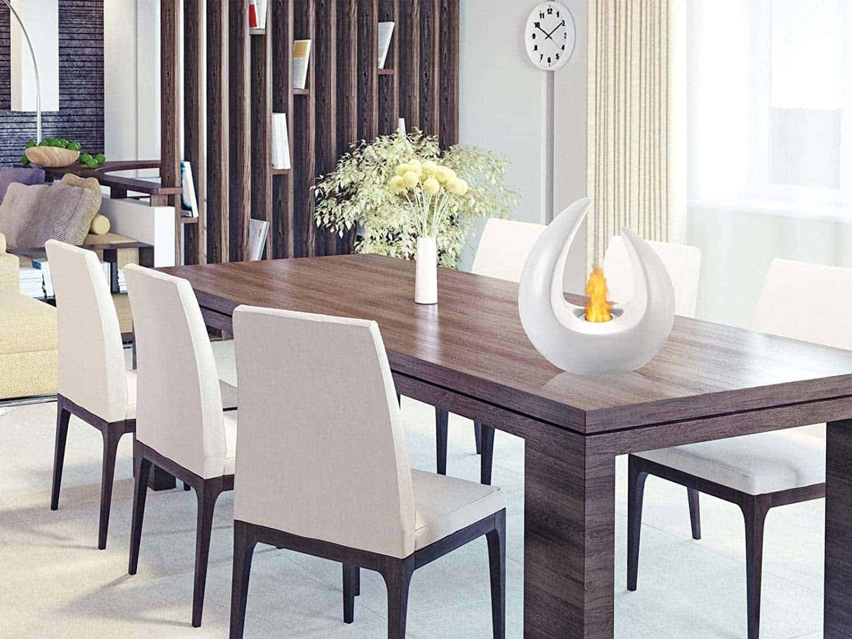 Ignis Mika White Ceramic Tabletop Ventless Ethanol Fireplace