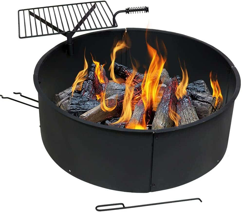 Sunnydaze Camp Fire Ring with Cooking Grate